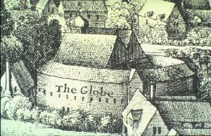 "1642, Wenceslas Hollar, <i>Long View of London</i>. ""The Globe"" superimposed; originally mislabelled ""beere baiting""."