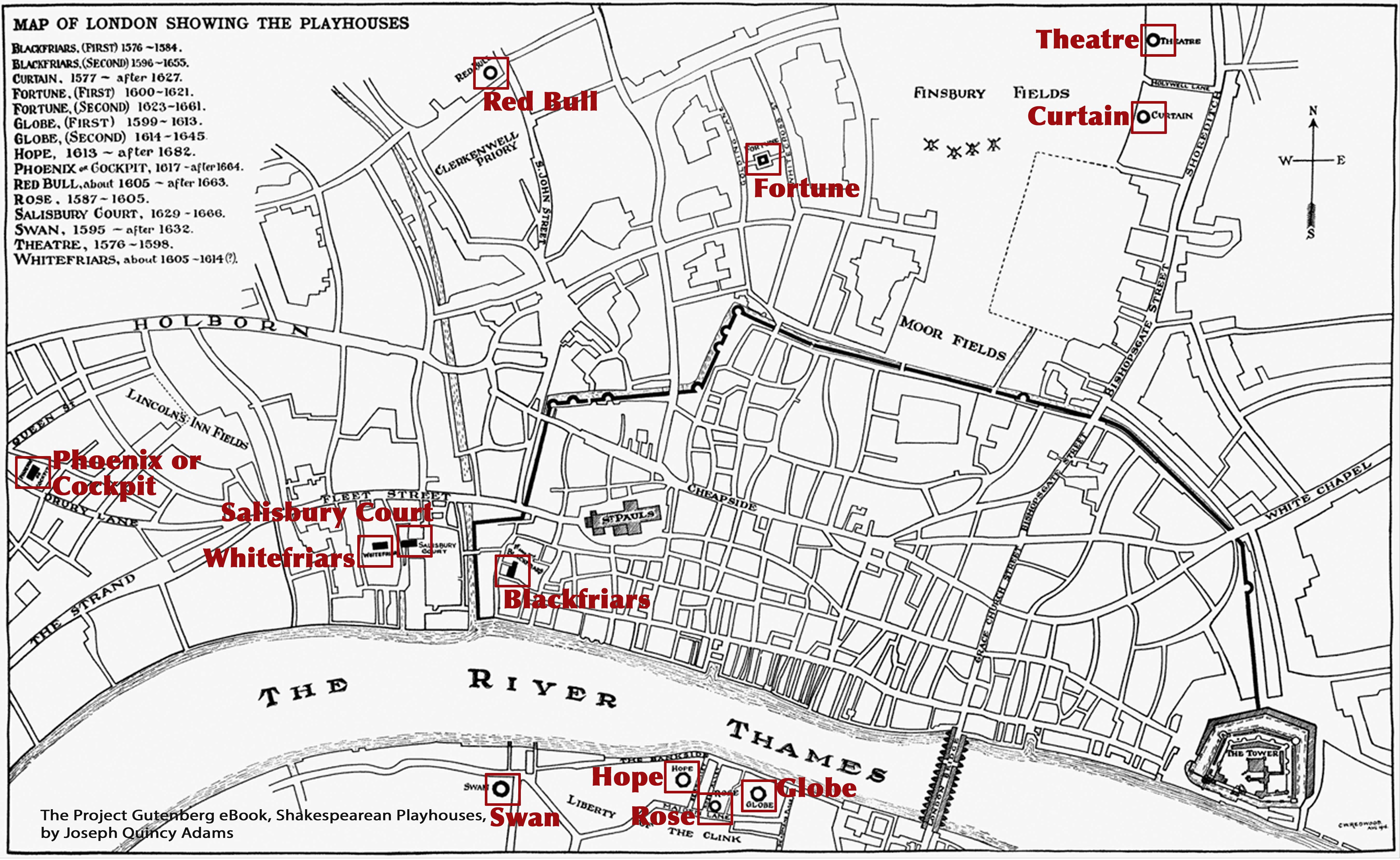 Map Of London 1600.Theaters Of London 1567 1642 Myshakespeare Me